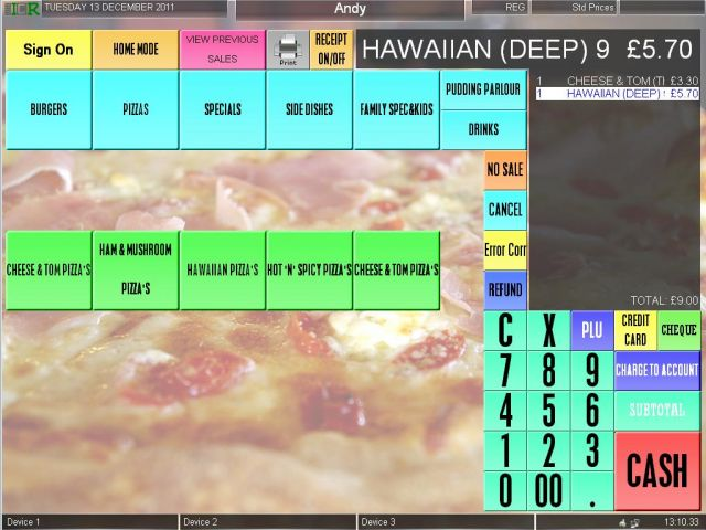 Screen shot of a TouchPoint for Take Aways
