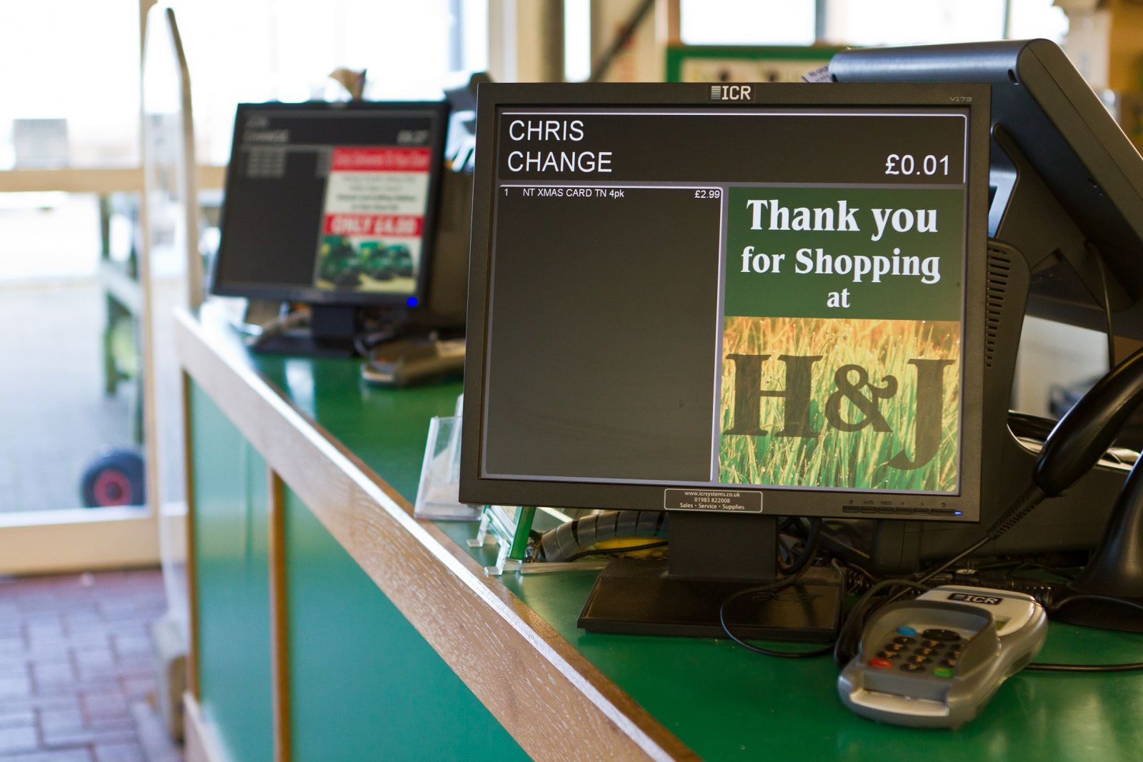 Large customer display with targetted advertising and messages